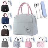 Lunchtasche Lunchbag für Damen/Kinder Kleine Kühltasche Lunch Tasche Picknicktasche Klein Isoliertasche Thermotasche zur Arbeit Schule Picknick (mit Gabel und Löffel)