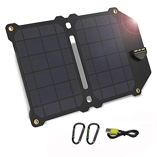 Solar Charger, 5V 14W Waterproof Solar Panel Chargers Outdoors Solar Phone Charger, Suit for Charging iPhone iPad Samsung Huawei Xiaomi Oppo OnePlus Vivo Nokia Motorola Mobile Phones Tablets and More