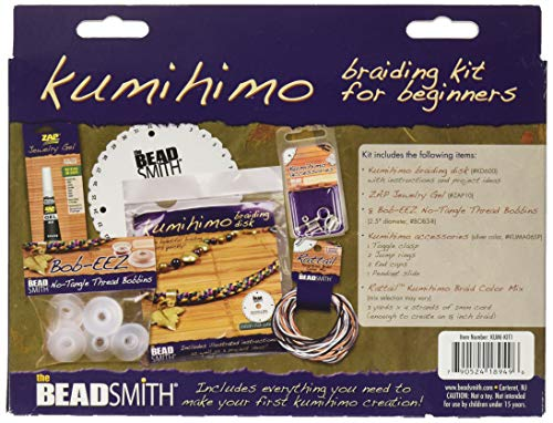 The Beadsmith Kumihimo Starter Kit with Disk, Adhesive, Bobbins, Findings, and Cord, Braiding for Beginners, Jewelry Tools for Braiding