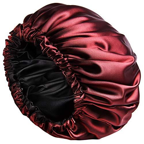 YANIBEST Satin Bonnet Sleep Bonnet Cap - Extra Large, Double Layer, Reversible, Adjustable Satin Cap for Sleeping Hair Bonnet(Large,Wine red)