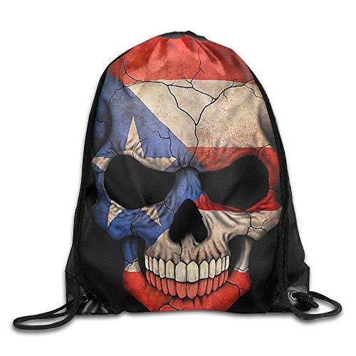 Harla Basic Puerto Rican Flag Skull Drawstring Backpack Bag Fashion