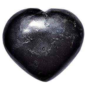 Zenergy Gems Selenite Charged Hand-Carved Natural Himalayan Black Tourmaline Pocket Puffy Heart/Palm Heart/Worry Stone + Baby Selenite Puffy Heart Charging Crystal [Included]