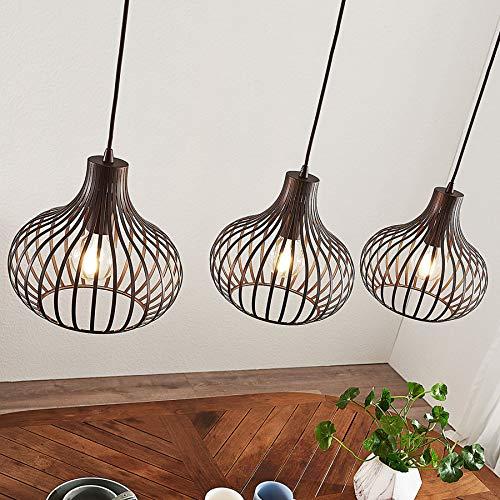Lámpara colgante 'Frances' (Vintage) en Marrón hecho de Metal e.o. para Cocina (3 llamas, E27, A++) de Lindby | lámpara colgante, lámpara colgante, lámpara, lámpara de techo, lámpara de techo, lámpara