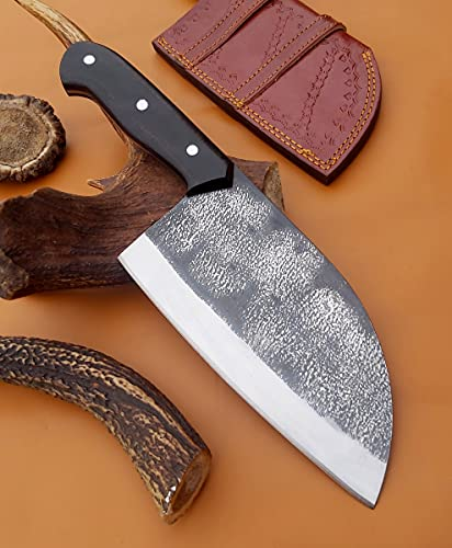 Handmade Carbon Steel Serbian Bushcraft Cleaver Chopper Kitchen Chef Knife Micarta Handle comes with...