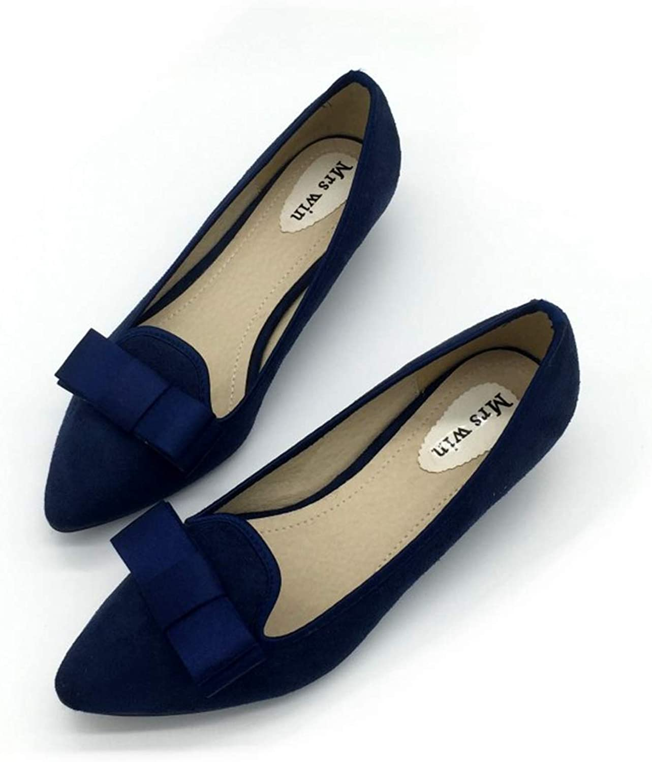 Owen Moll Women Pumps, Sexy Solid colors Flock Bowtie Pointed Toe Party Work shoes