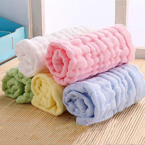 Piore Toallas de Gasa de algodón Toallas de baño para recién Nacidos Toalla de baño para niños Paño de Lavado Suave Color sólido Productos de Cuidado de absorción de Agua, Blanco