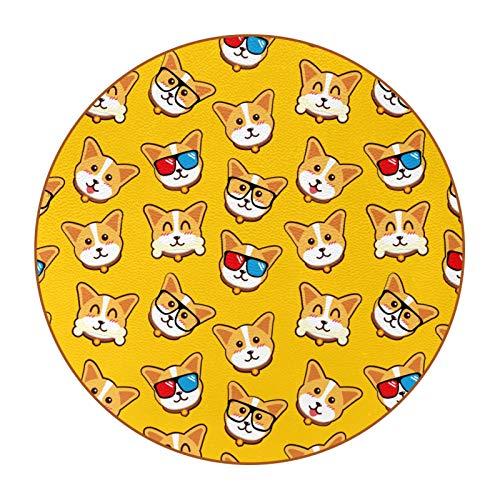 6 piezas durables posavasos patrón de moda posavasos con base de cuero de microfibra para tazas de vidrio taza café amarillo perros corgi emoticonos