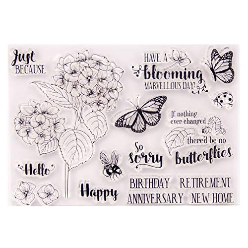 Have a Blooming Day Stamps Flowers Happy Birthday Greetings Rubber Clear Stamp/Seal Scrapbook/Photo Album Decorative Card Making Clear Stamps