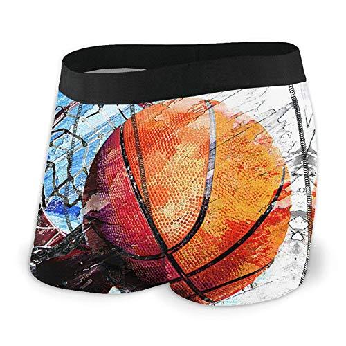 BOTAO Baloncesto Art Print Herren Boxershorts, Leichte Micro-Stretch Unterwäsche Shorts 2er Pack