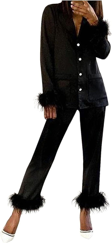 Women Suits Sets, Women Feather Long Sleeve Camis Tops+Long Pants 2 Piece Set Sleepwear