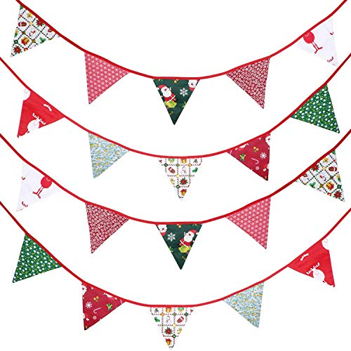33 Feet Fabric Banner Bunting 30 Double-sided Triangle Pennant Flags in 10 Different Style Patterns for Holiday Winter Birthday Party Photo Prop (Easter) (Christmas)