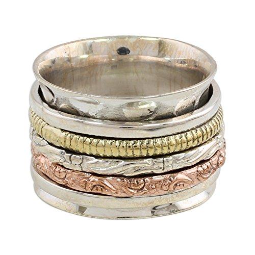 NOVICA .925 Sterling Silver Copper Brass Spinner Meditation Ring 'Five Delights'