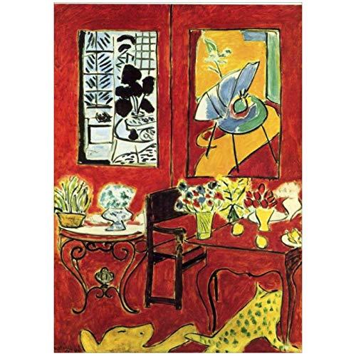 Mural de flores de vino tinto Francia Henri Matisse fauvismolienzo pintura decoración del hogar para sala de estar-20X28in sin marco