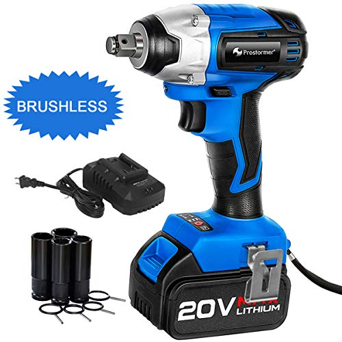 Brushless Cordless Impact Wrench 1/2-Inch, PROSTORMER 20V Max Lithium Battery Powered Impact Wrench...