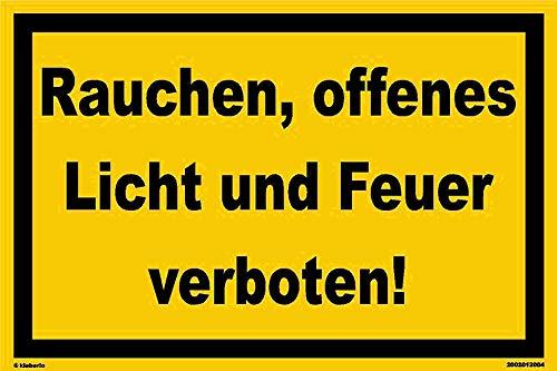 kleberio® - Rauchen, offenes Licht und Feuer verboten! - Schild Kunststoff Verbotszeichen Warnschild 20 x 30 cm