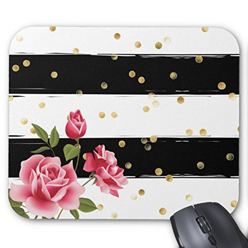 UOOPOO Pink Roses Gold Dots Black & White Stripe Mouse Pad Rectangle Non-Slip Rubber Mousepad Gaming Mouse Pads 8.2 x 10.2 x 0.12 Inch(Pattern: Print)
