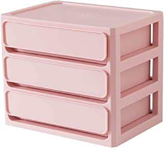 Simple Desktop Storage Box Drawer Storage Box Office File Storage Box Student Cosmetic Storage Box Plastic Box (Size: 26 * 19.5 * 22.3cm) (Color : Pink, Size : 26 * 19.5 * 22.3cm)