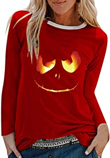 TIFENNY Halloween Shirts for Women Grimace Print Shirt O-Neck Long Sleeve Tops Going Out Pullover Loose T-Shirt Blouse