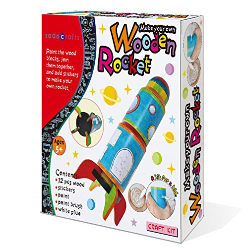 SadoCrafts Paint and Make Your Own Rocket - Fun Interactive DIY Educational Wooden Toy for Kids Arts and Crafts