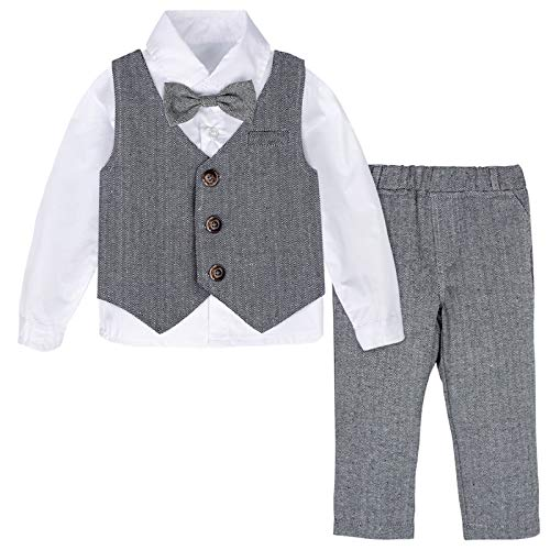 mintgreen Baby Junge Formell Anzug Gentleman Kleidung Set, Dunkelgrau, 18-24 Monate (Herstellergröße : 90)