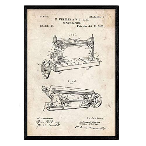 Nacnic Poster con patente de Maquina de coser. Lámina con diseño de patente antigua en tamaño A3 y con fondo vintage