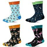 ECOMBOS Herren Socken Bunt - Baumwolle Socken Herren, Gemusterte Socken Muster Lustige Socken, Modische Socken Mehrfarbig Klassisch Baumwolle 38-45 (Pinguin)
