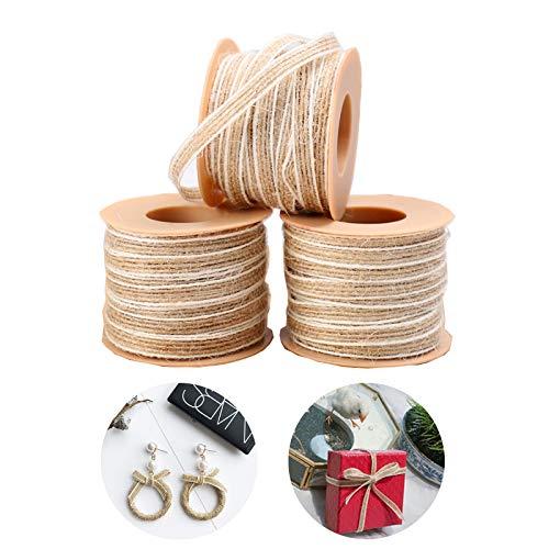 3 Rollos Cinta de Arpillera Natural, Cuerda de Cáñamo Trenzada de Arpillera, Arpillera de Yute Craft Ribbon, Cinta de Arpillera Cinta Artesanal de Bricolaje, para Manualidades de Bricolaje