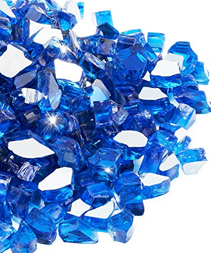 NUPICK 20 Pound Fire Glass, 1/2 Inch Reflective Fire Glass, Fit with Fire Pit Glass and Fireplace Glass, Blue
