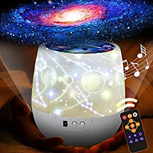KISTRA Remote Star Projector Night Light for Kids Room (6-Films), Infant Sleep Sound Machine 360° Rotating LED Starry Sky Nightlight, Music Player (18 Songs), Timer, Table Lamp, Best Gifts, XGu-002
