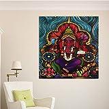 ganlanshu Indischer roter Elefantengott gemalt auf Leinwand HD-Kunstwandbild schmücken...