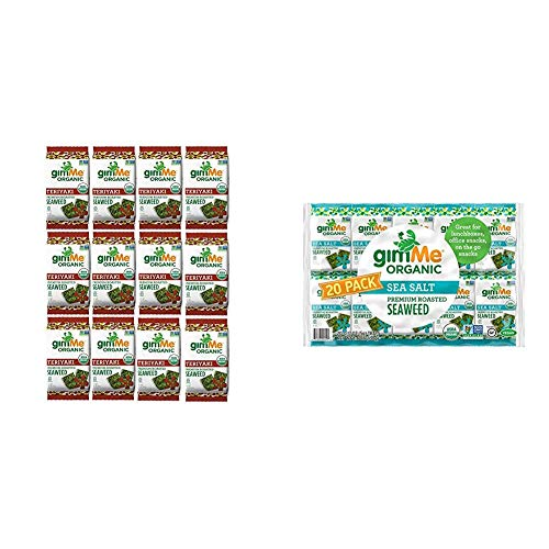 gimMe Snacks - Organic Roasted Seaweed - Teriyaki - (.35oz) - (Pack of 12) - non GMO, Gluten Free, 20 Count   Keto, Vegan, Gluten Free  Great Source of Iodine and Omega 3's