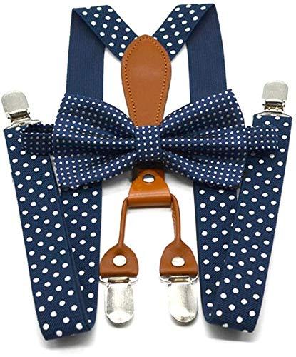 Huaheng Hombre Mujer Lunares Corbata Tirantes 4 Broches Cuero Suspensorio Tirantes - Azul Marino