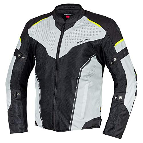 REBELHORN Hiflow IV - Giacca da moto da uomo con membrana Humax, Elbow e Shoulders, removibile, tasche per la ventilazione nero/argento/giallo fluo XXXXXXL