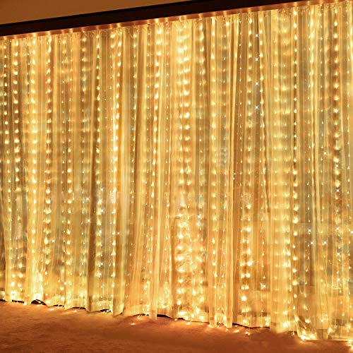 Curtain String Light Window Fairy Light Twinkle Lights, 9.8ftUSB Powered Waterproof 300 LED Light with Remote Control & Timer for Valentine's Day Bedroom Wedding Party Christmas