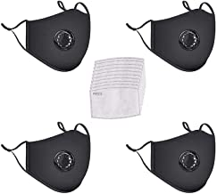 4 Pack Protective Covers with 10 Cotton Filter Sheet,Washable Reusable Protection Cover with Breathing Valve-Black