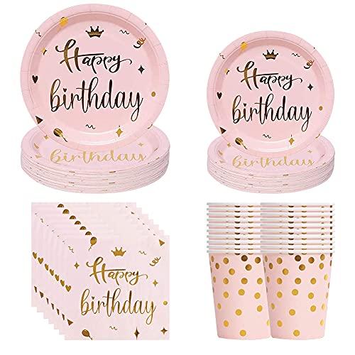 50PCS Set Rosa Punkte Papier Geschirr Set, Papierservietten, Rosa Punkte Papier Einwegbecher & Geschirr Papierschalen für Picknicks Kindergeburtstag Partys