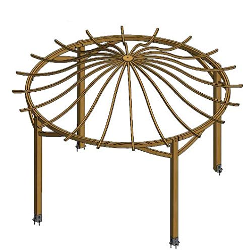 LiveOutside Valencia -Round Wooden Garden Pergola with Arched Top - Diameter 482cm, H 338 cm