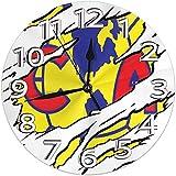 Mailine Wanduhr Torn Club America Logo Runde Uhr Silent Home Decor Wanduhr Arabische Ziffern Indoor Clock