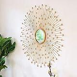 Decoraciones De Pared Espejo Decorativo, Hierro Creativo Redondo Dorado Hecho A Mano Sol Espejo De Pared para Sala De Estar Sofá Fondo Comedor Baño Espejo Colgante 70Cm, 80Cm