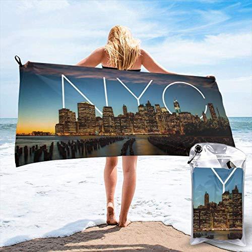 Toallas de Playa de baño Ligero de Microfibra de Viaje rápido de Secado rápido Art New York City para Acampar, Caminar y Usar en el hogar