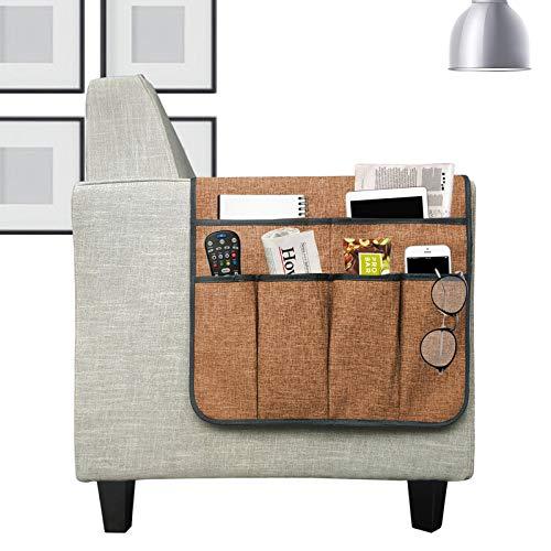 YHSW Bolsillo del sofá Cochecito de bebé sillón Organizador Bolsa Colgante para reposabrazos sofá,Soporte Control Remoto con 6 Bolsillos,Guardar revistas,tabletas,teléfonos,iPads,marrón