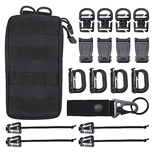 """MGFLASHFORCE Kit of 18 Molle Attachments Molle Carabiner Clips and Straps for 1"""" Webbing, Molle Bags, Tactical Backpack, Tactical Vest, Tactical Belt Molle Accessories (Black)"""