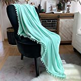 LOMAO Flannel Blanket with Pompom Fringe Lightweight Cozy Bed Blanket Soft Throw Blanket fit Couch Sofa Suitable for All Season (51x63) (Pale Mint Green, 51''x 63'')