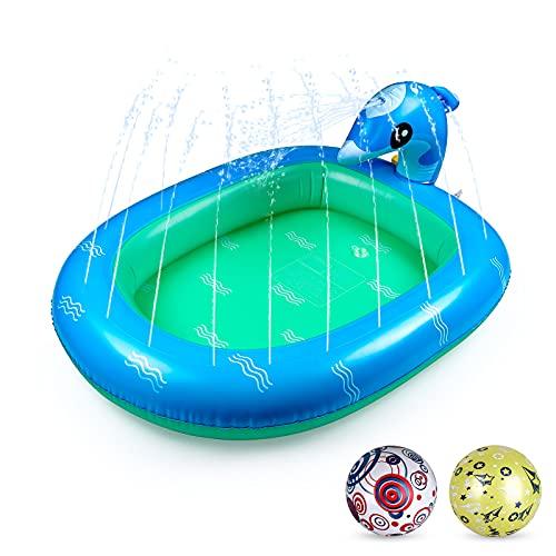Gemeer Tappetino Gioco d'Acqua per Bambini, Splash Play Mat all'Aperto Giochi d'Acqua Sprinkler, 110 * 90cm Spruzzi Antiscivolo Piscina Gonfiabile, per Giardino Piscina Estivo all'aperto