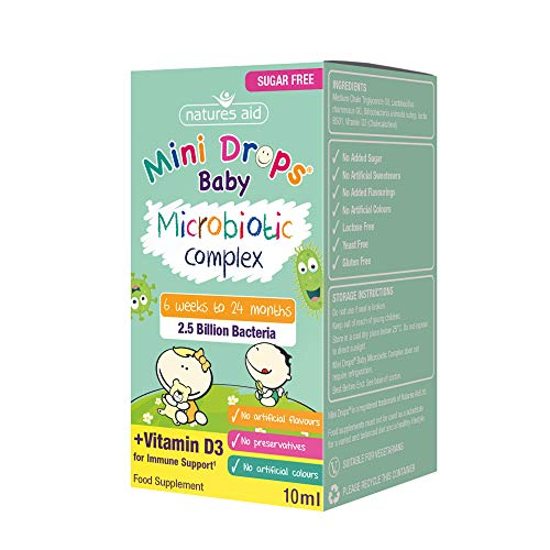 Natures Aid Mini Drops Baby Microbiotic Complex for Infants and Children (Sugar Free), 10 ml, 1 Count