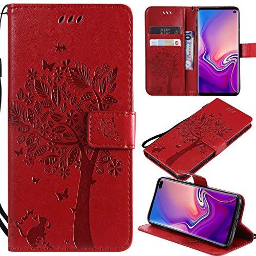 Kihying Pelle Case per Wiko Pulp Fab 4G Cover Custodia Portafoglio a Fogli mobili Staffa e Slot per schede (Rosso - KHT08)