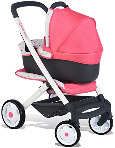 Smoby 253198 Quinny 3-in-1 Multifunktions-Puppenwagen, rosa