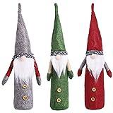 HomyPlaza 3 PACK Christmas Wine Bottle Cover, Handmade Gnomes Wine Bottle Toppers, Knit Santa Claus Bottle Bags, Sweater Wine Bottle Dress Cartoon Wine Bottle Cover for Christmas Decorations Party