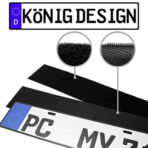König Design 2 x Kennzeichenhalter Klett Set Nummernschildhalter Rahmenlos Kennzeichenhalterung Unsichtbar Kennzeichenträger