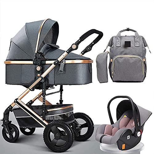 Cochecito de bebé, cochecito urbano ligero desde el nacimiento, 3 en 1 cochecito de bebé bolsa de pañales mochila, cochecitos y sillas de nacimiento de nacimientos para recién nacidos y niños pequeños
